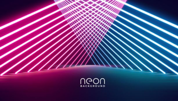 glowing neon lights stage pathway background design