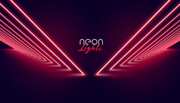 perspective neon red lights pathway background design