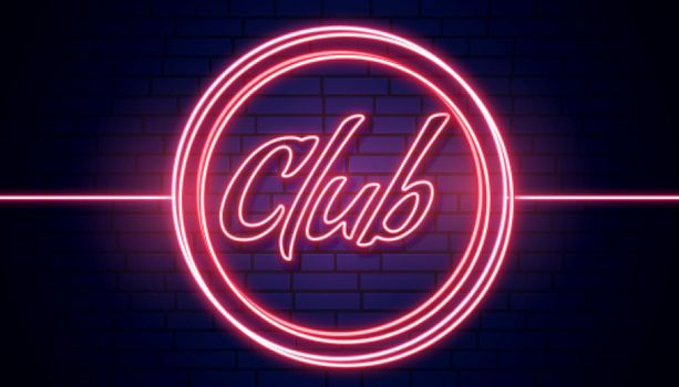 club signboard in red neon lights background