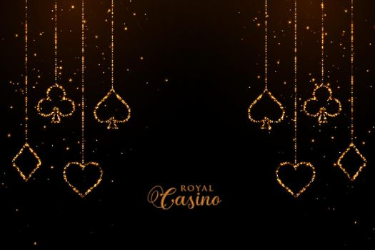casino playing cards golden sparkle background design