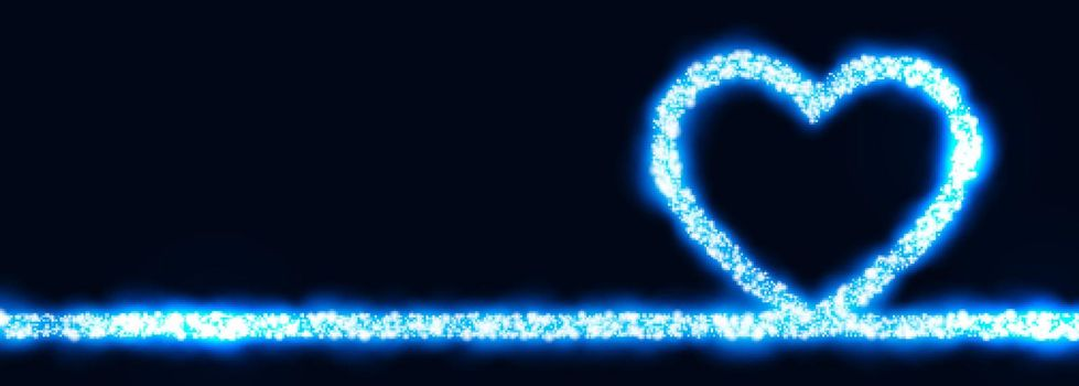 glowing blue heart made with sparkle banner design
