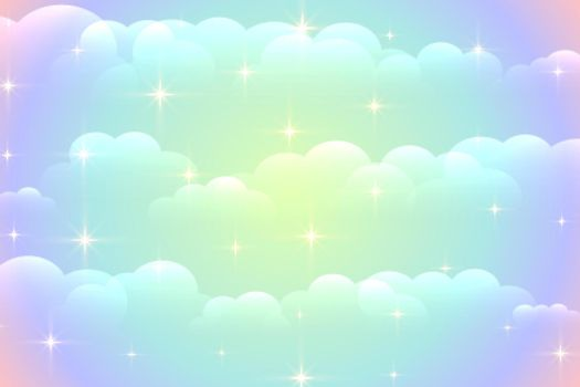 vibrant clouds background with shiny stars