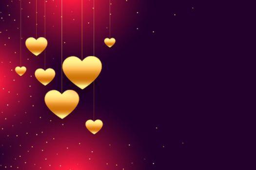 golden hanging hearts valentines day background design