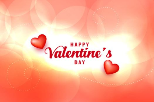 happy valentines day shiny bokeh background design