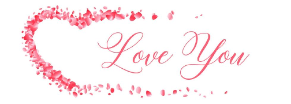 flower petal hearts with love you message