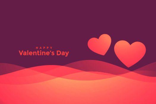 happy valentines day wavy hearts background design