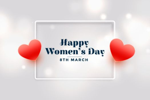 happy womens day red hearts banner design