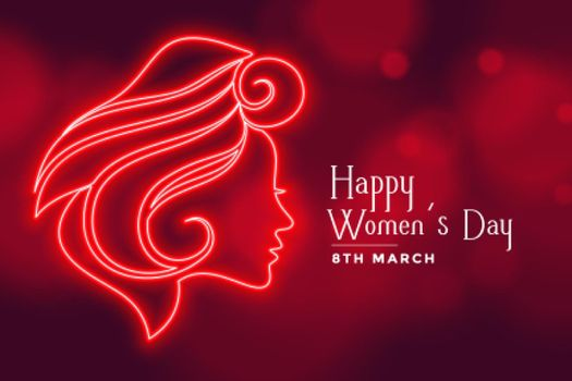 beautiful red lady face for happy womens day