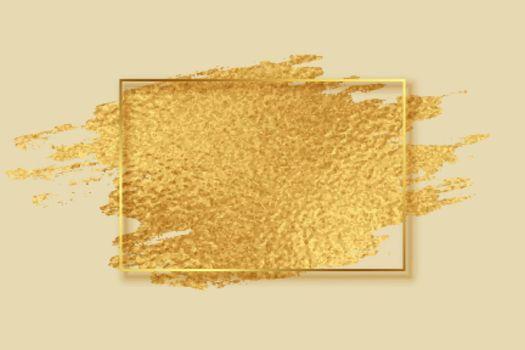 abstract golden foil brush stroke frame design