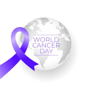 ribbon and earth for world cancer day concept