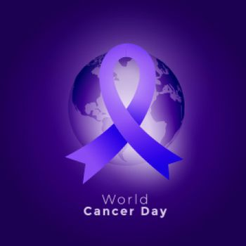 purple ribbon and earth on world cancer day