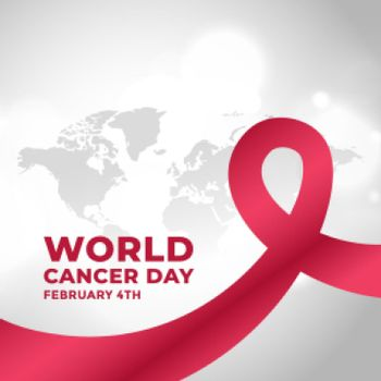 world cancer day campaign poster with ribbon