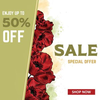 Sale banner template with poppies. Sales ad template for the web site, social media, shop, flyer and more.