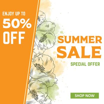 Summer Sale banner template with poppies. Sales ad template for the web site, social media, shop, flyer and more.
