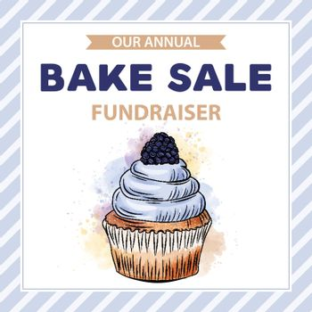 Charity Bake Sale banner template with cupcake. Sales ad template for the web site, social media, shop, flyer and more.