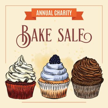 Charity Bake Sale banner template with cupcake design. Sales ad template for the web site, social media, shop, flyer and more.