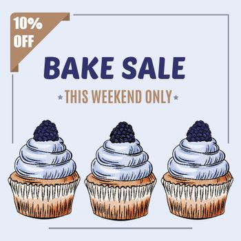 Bake Sale banner template with cupcake design. Sales ad template for the web site, social media, shop, flyer and more.