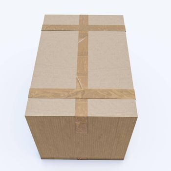 cardboard box isolated on white background 3d illustration