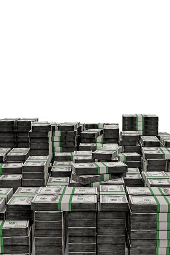 huge dollar stack isolated on white background 3d illustration
