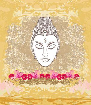 decorative buddha portrait - abstract illustration