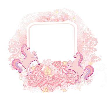 decorative flower frame with beautiful unicorns