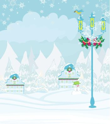 winter city landscape - illustration with bird, houses and snow