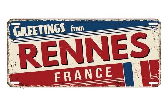 Greetings from Rennes vintage rusty metal plate