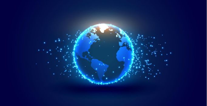 digital earth with particles background