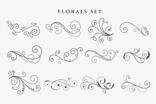 floral decorative ornaments set design
