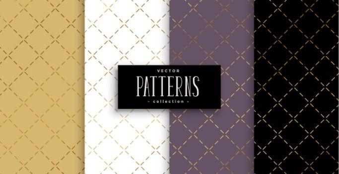geometric diagonal lines golden pattern set