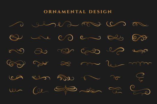 mega set of curl swirls borders