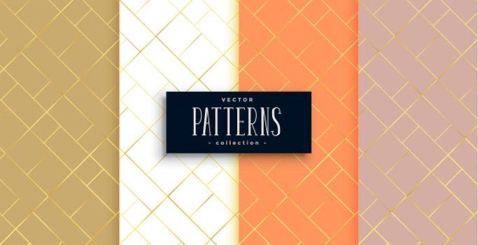 premium golden diamond shape diagonal lines pattern set
