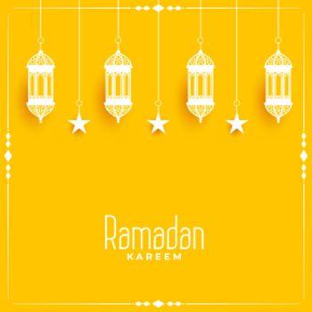 ramadan kareem yellow card design background