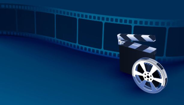 realistic film strip background with clapper board