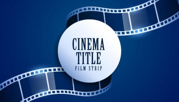 realistic film reel strip cinema title background
