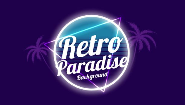 retro paradise 80s style background design