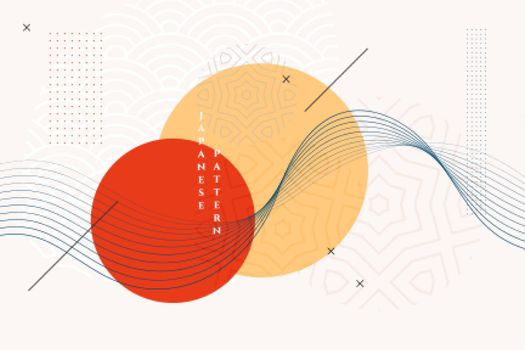 traditional japanese background with wavy lines