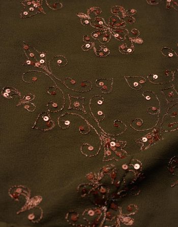 dark green fabric with sequin embroidery, fabric for tailoring