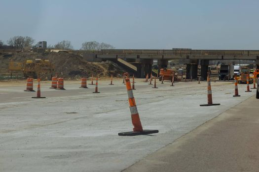 Restoration large road construction site in the renovation bridge of a modern road interchange in USA