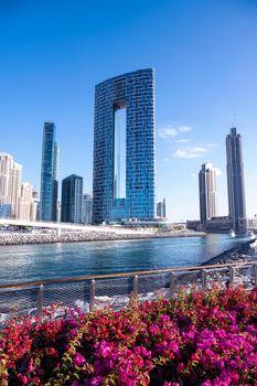 Jan 22, 2021, Dubai,UAE. Beautiful view of the Blue water residences and skyscrapers at the dubai marina captured from the Ain Dubai, Blue water islands, Dubai , UAE.