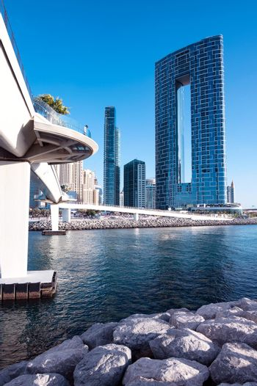 Jan 22, 2021, Dubai,UAE. Beautiful view of the Blue water residences and skyscrapers and the wharf bridge captured from the Ain Dubai, Blue water islands, Dubai , UAE.