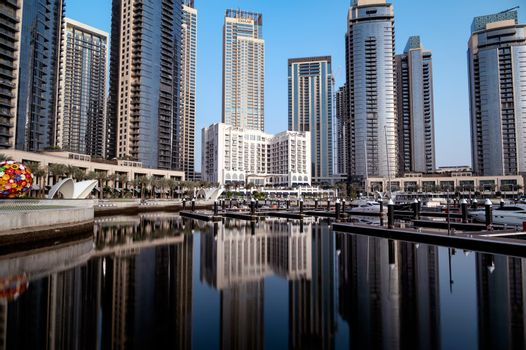 12th march 2021,Dubai,UAE. Dubai creek harbor skyline with embankment promenade ,hotels, shops and residences captured in the evening time at the Dubai creek harbor, Ras al khor, Dubai , UAE.