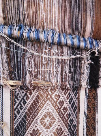 Natural dyed wool yarn in the peruvian Andes at Cuzco