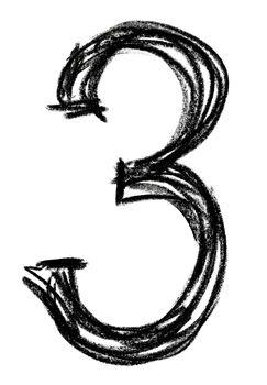 Handwritten sketch black Number 3