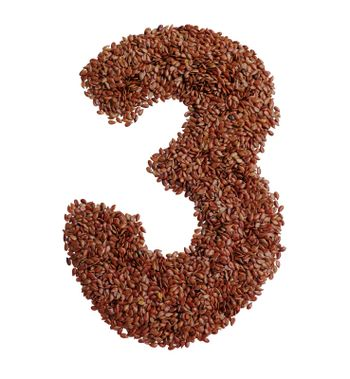 Number 3 made with Linseed also known as flaxseed isolated on white background
