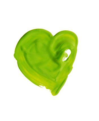 Hand-drawn painted green heart