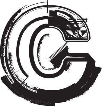Grunge Font LETTER c