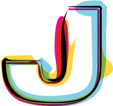 Abstract colorful Letter J