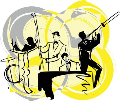 Illustration of musicians play classical music