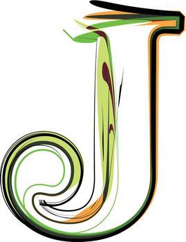 Organic type. Letter J